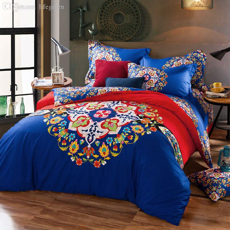 Wholesale Bohemia Boho Blue Bedding Set Queen King Size