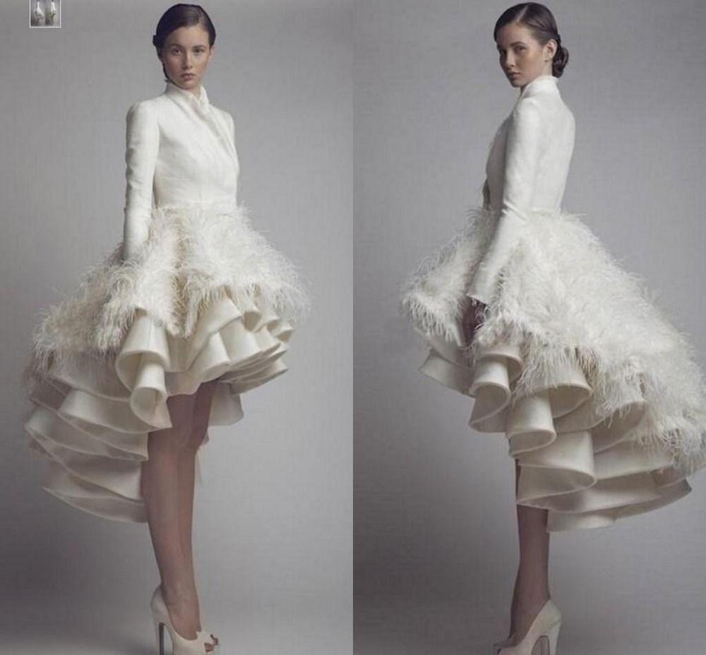 Discount david tutera 2016 long sleeves wedding dresses for Long sleeve high low wedding dresses