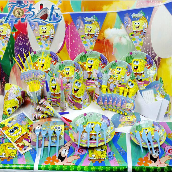 Cartoon anime sponge bob theme kids xmas birthday and baby for Baby full moon party decoration