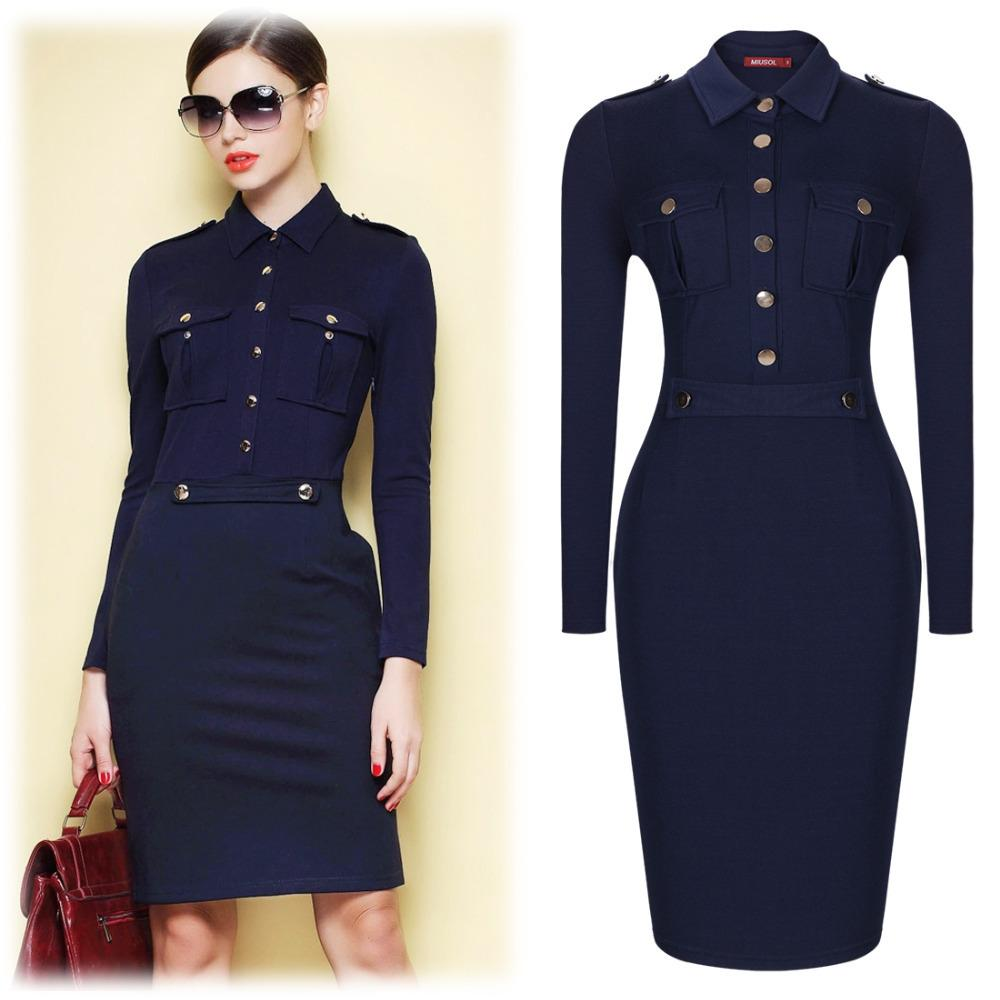 Women Summer Dark Blue Vintage Collared Elegant Long Sleeve Bodycon Workwear Business Office ...