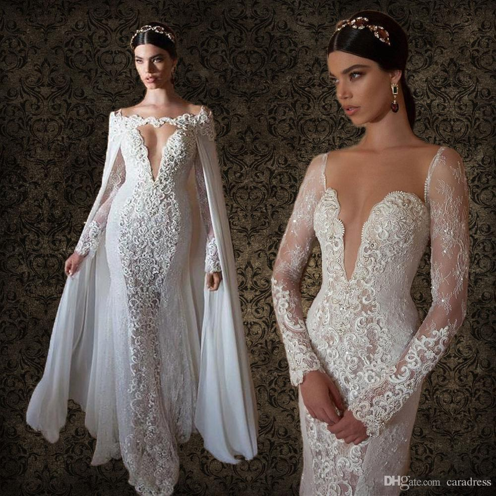 2017 Sexy Plunging Berta Bridal Wedding Dresses With Long