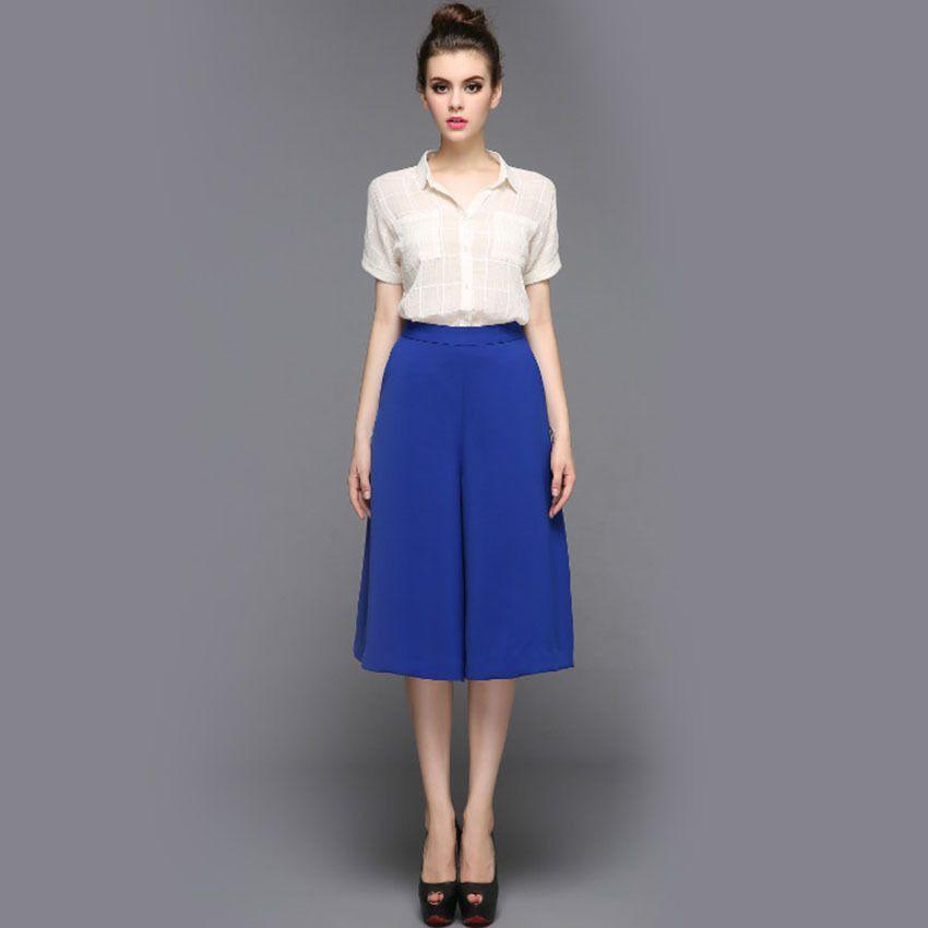 2017 White Short Sleeves Blouse Women Loose Pants Wide Legs Suit ...