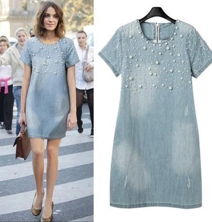 plus size 5xl summer jeans dress 2015 women short sleeve beaded