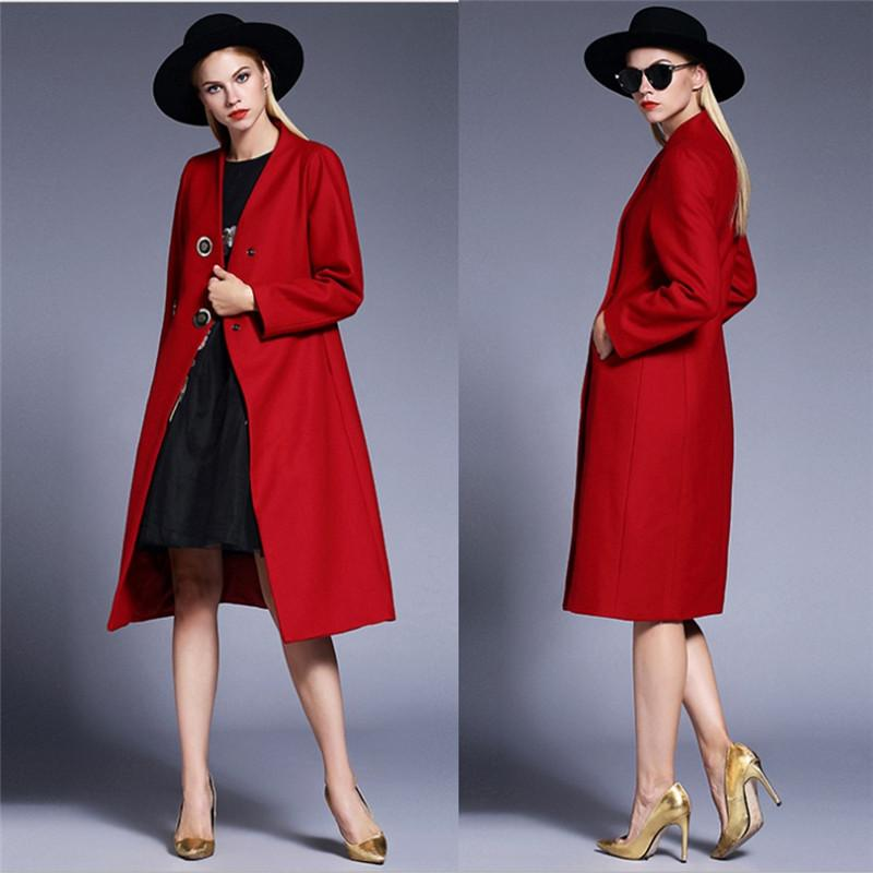 Red Winter Coats For Women Double Breasted Buttons Wool Blends ...
