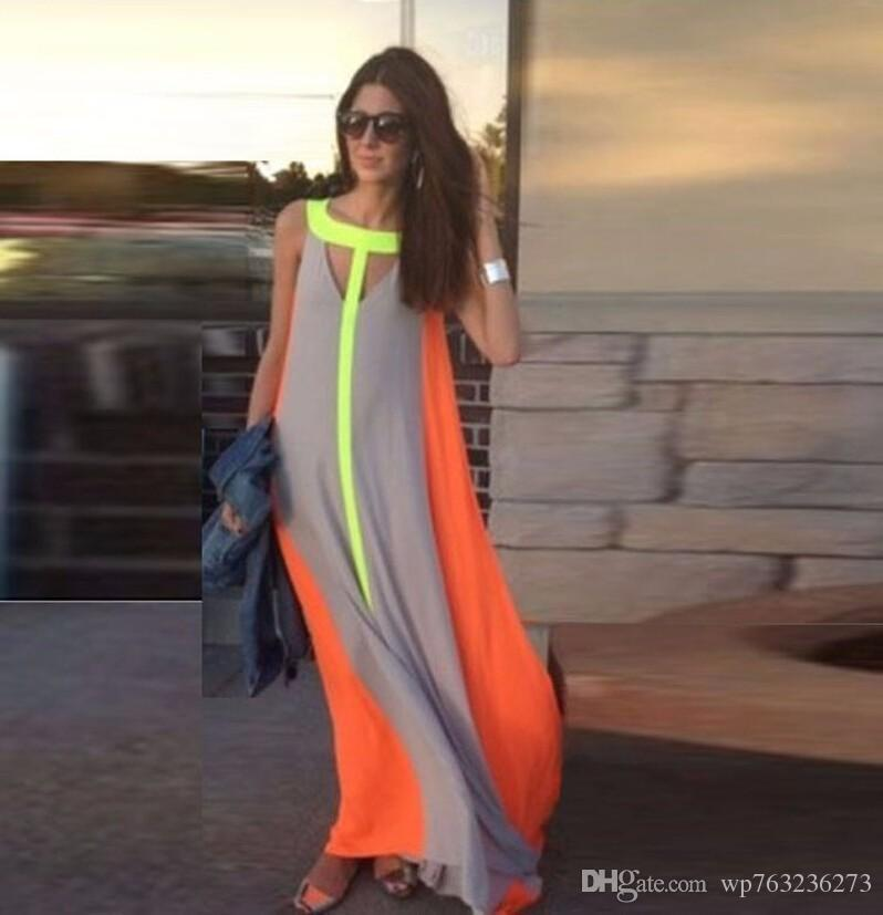 Women Boho Dress Summer Style 2016 Patchwork Casual Long Robes Sans manches Plus