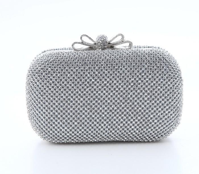 New! Fashion Silver Prom Evening Bags Beaded Banquet Lady Clutch ...