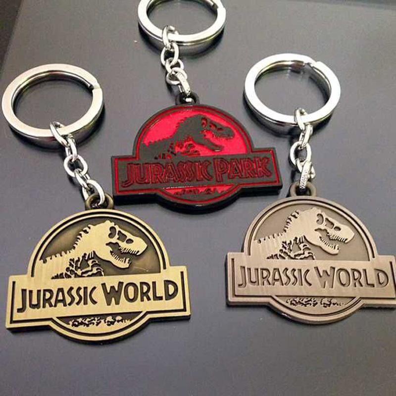 jurassic park keychain alloy dinosaur key chains key rings jurassic world badge pendants movie. Black Bedroom Furniture Sets. Home Design Ideas