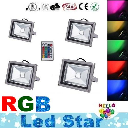 10W 20W 30W 50W Led RGB Floodlights Warm/Natrual/Cold White Red Green Blue Yellow Outdoor Led Flood Garden Light Waterproof + Remote Control
