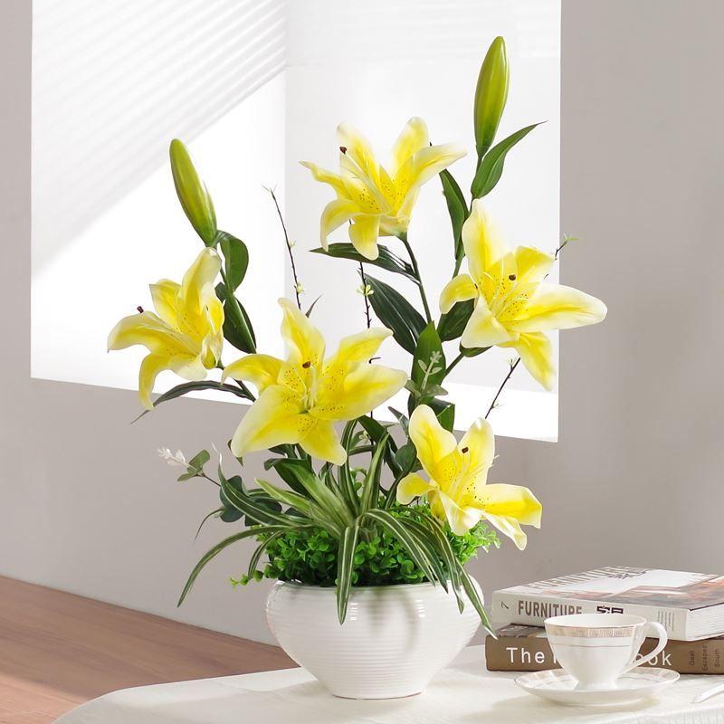 PU Lily Flower Vase Potted Flower Decoration Simulation Suite Living Room  Decorative Plastic Flowers Floral Silk