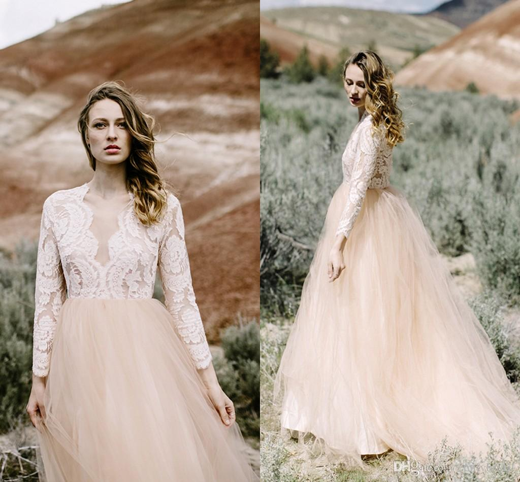 Modest blush pink tulle wedding dresses with long sleeves for Blush tulle wedding dress