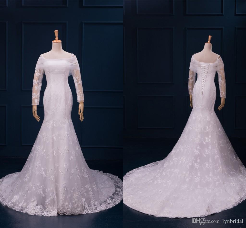 White Mermaid Wedding Dress f The Shoulder Long Sleeve