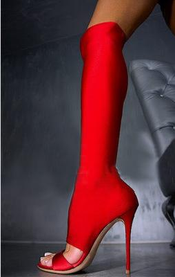 Sexy Women Wearing Boots Suede Over The Knee Boots Shiny Red Tight ...