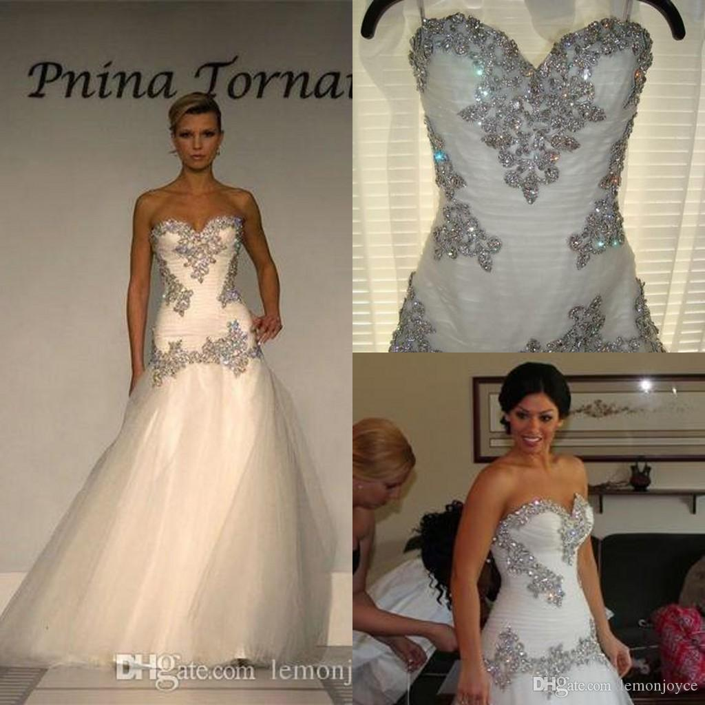 Bling pnina tornai wedding dresses 2016 a line sweetheart for Bling corset mermaid wedding dresses