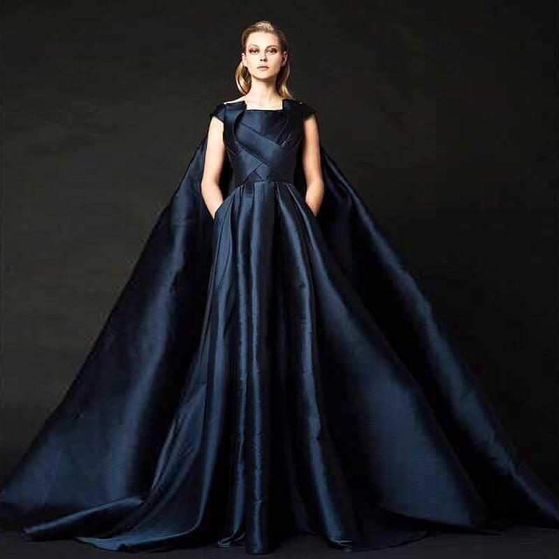 2016 dark navy evening dresses with cape ruched satin long for High fashion couture dresses