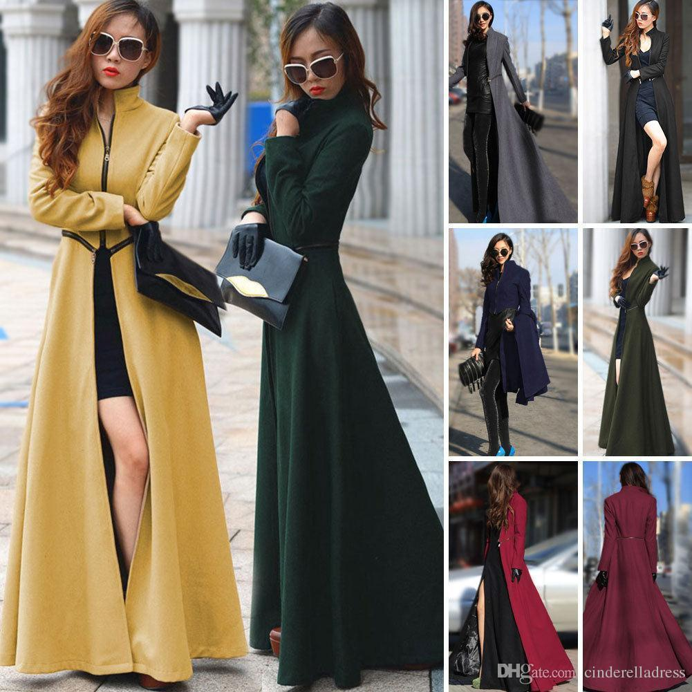 Cheap Women Winter Coats Stand Collar Zipper Split Maxi Long