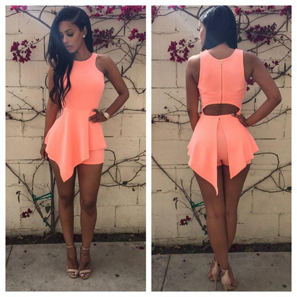 Femmes robe courte rompers 2015 Exposed Retour Zipper Piece Robe Ouvert Ladies N