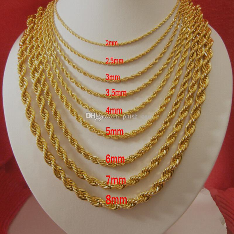 2017 18k Gold Plated Necklaces For Men Top Quality Rope