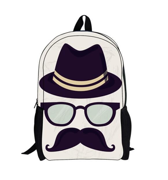 2014 Girls Cute Mustache Backpack Men Bag Outdoor Funny School ...