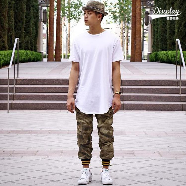 Fnty bang kpop mens big and tall plain extended t shirt for Extra long shirts for tall men