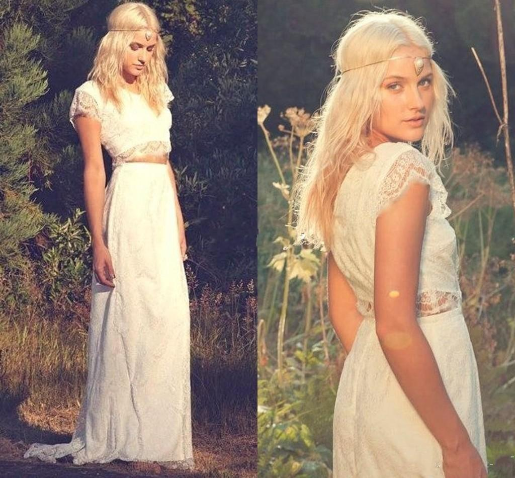 Bohemia Two Pieces Greek Style Wedding Dresses 2016 A Line