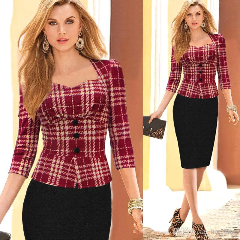 Best 2015 Spring Fall Women Work Dresses 3/4 Long Sleeve Plaid ...