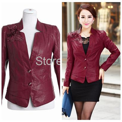 Fashion Women Faux Leather Jacket L--5XL Plus Size Rose/Black/Blue ...