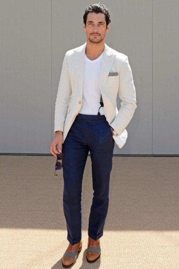 Summer Casual Ivory Linen Men Suits Peaked Lapel Tuxedos Mens ...
