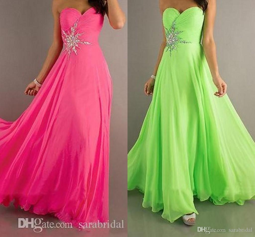 In stock cheapest beach chiffon prom dress long for Green beach wedding dresses
