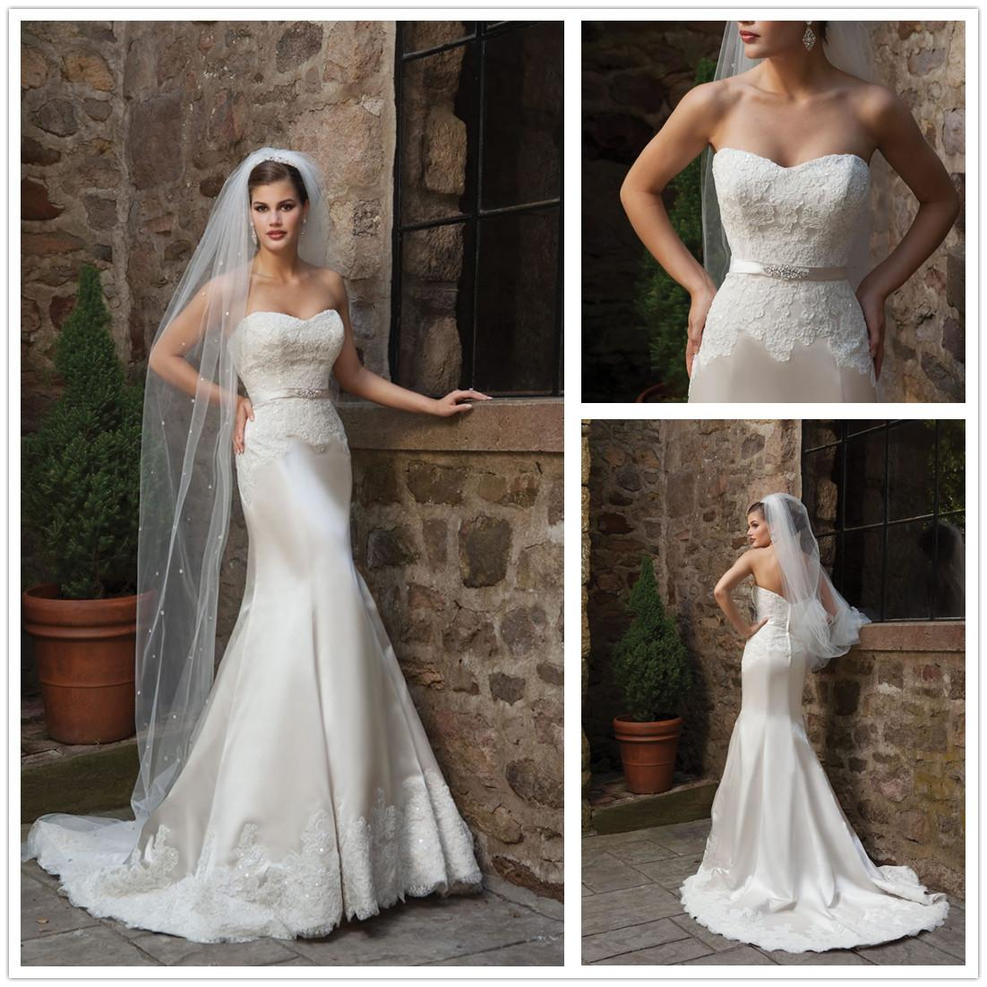 High end 2015 new satin wedding dress mermaid style for High end wedding dress