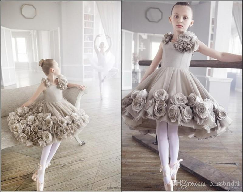 Vintage Silver High Low Flower Girl Pageant Dresses With Hand Made ...
