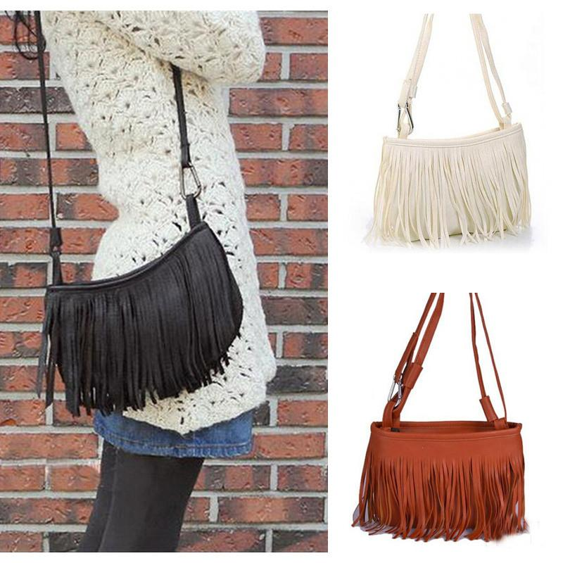 Fashion New Mini Classical Women Fringe Shoulder Bags Pu Leather ...