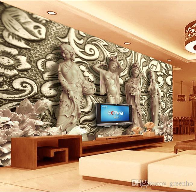 Brilliant 3d woodcut four great beauties photo wallpaper for 3d wallpaper home decoration