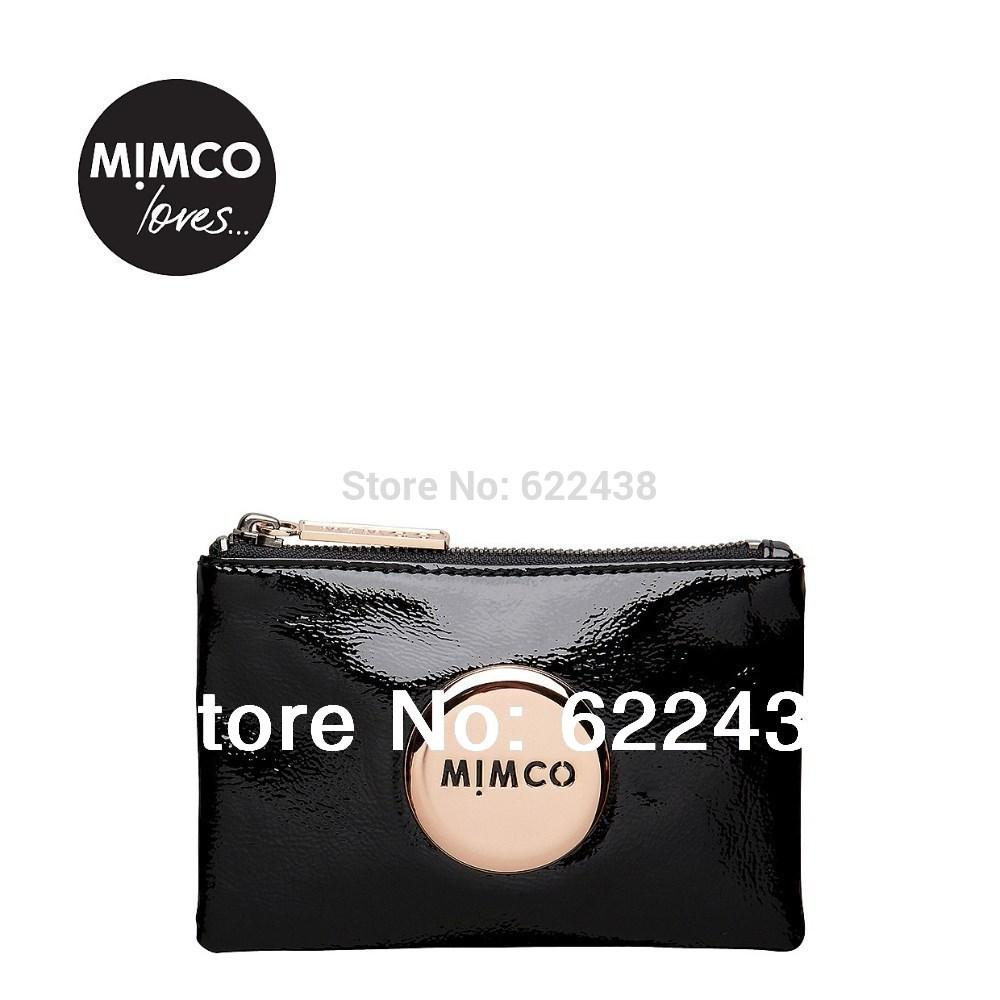 FREESHIPPING MIMCO BLACK PATENT ROSEGOLD BADGE LOVELY SMALL MIM POUCH COIN POUCH PHONE POUCH TOP QUAILITY