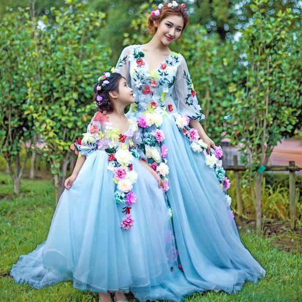 two pieces dresses real image cute flower girls dresses