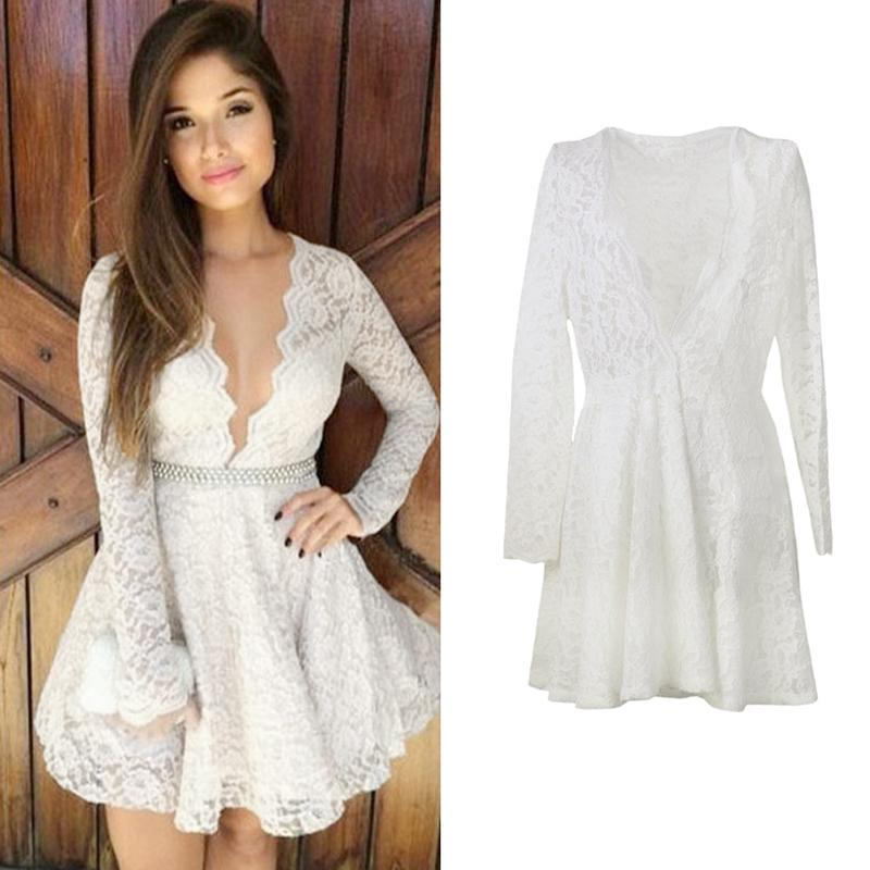 Unique White Sexy Womens Long Sleeve Lace Dress Cute Hollow Out ...