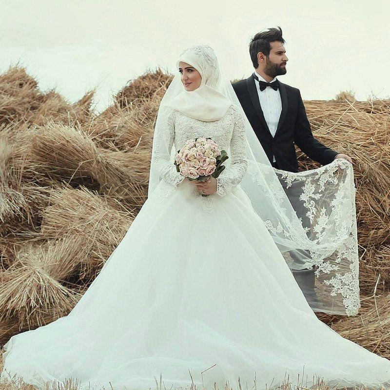 Arab Muslim Wedding Dress With Free Hijab Beaded Applique