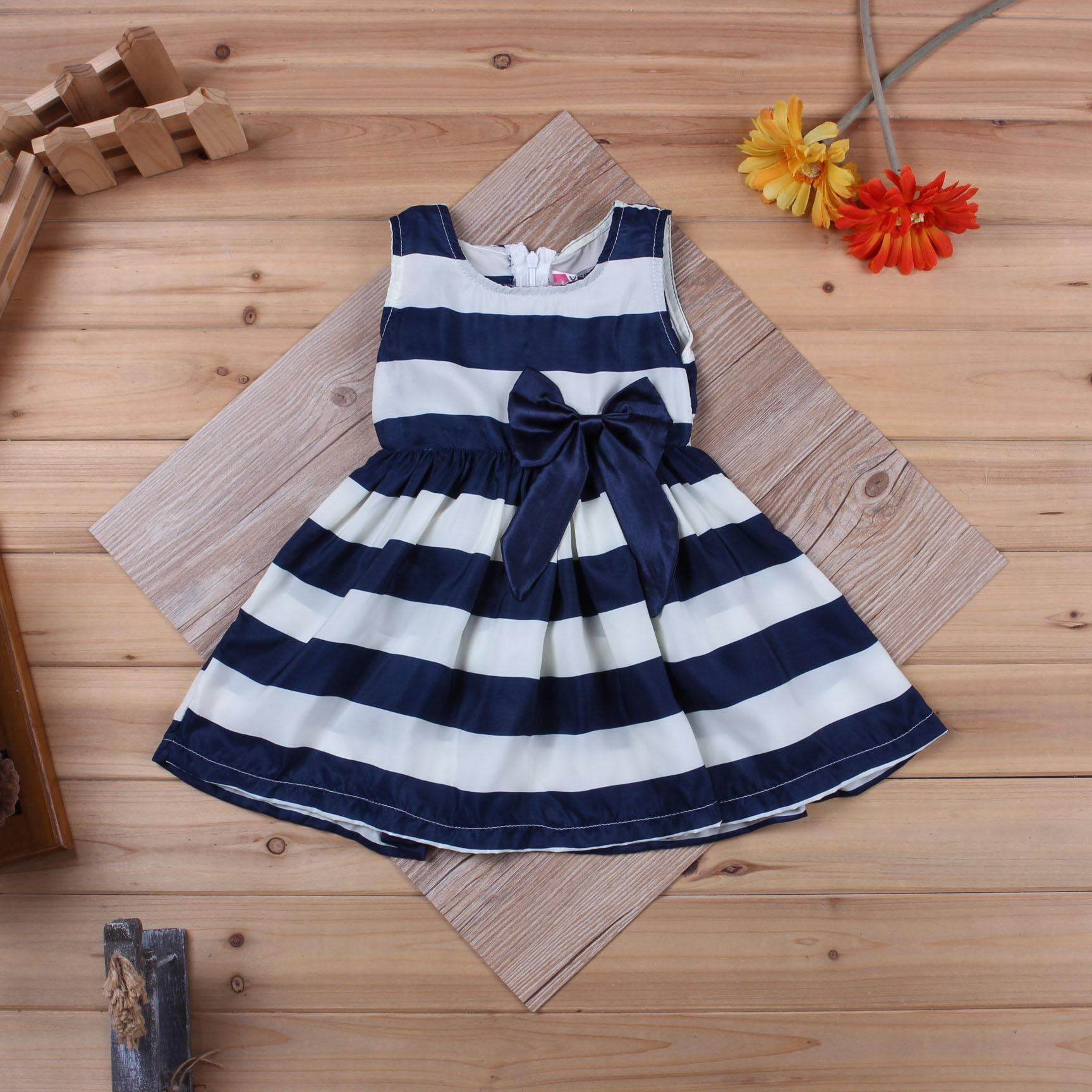 Navy And White Striped Flower Girl Dresses Cheap Wedding