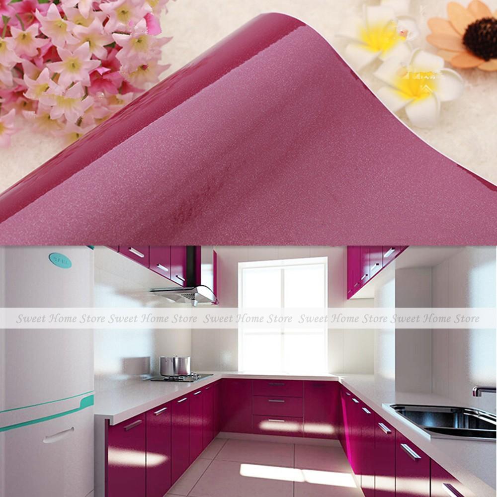 Glossy purple self adhesive wallpaper kitchen units for Purple kitchen wallpaper
