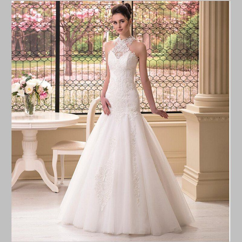 Top Quality Mermaid Halter Wedding Dress Floor Length Ivory Tulle Lace Modest