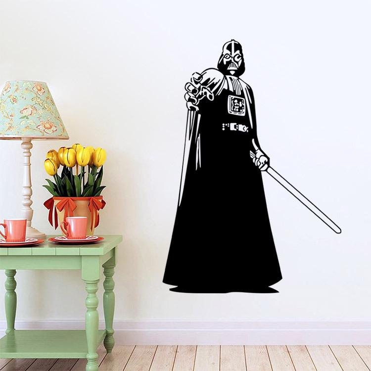Darth vader silhouette star wars wall art stickers decal for Como dibujar un mural en la pared