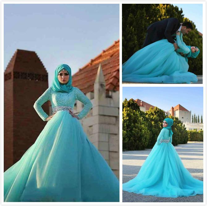 2015 light sky blue muslim wedding dresses beautiful lace for Sky blue wedding guest dresses