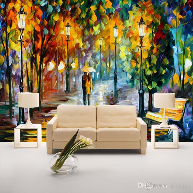 unique knife painting wallpaper colorful street wall mural 10 unusual wall art ideas