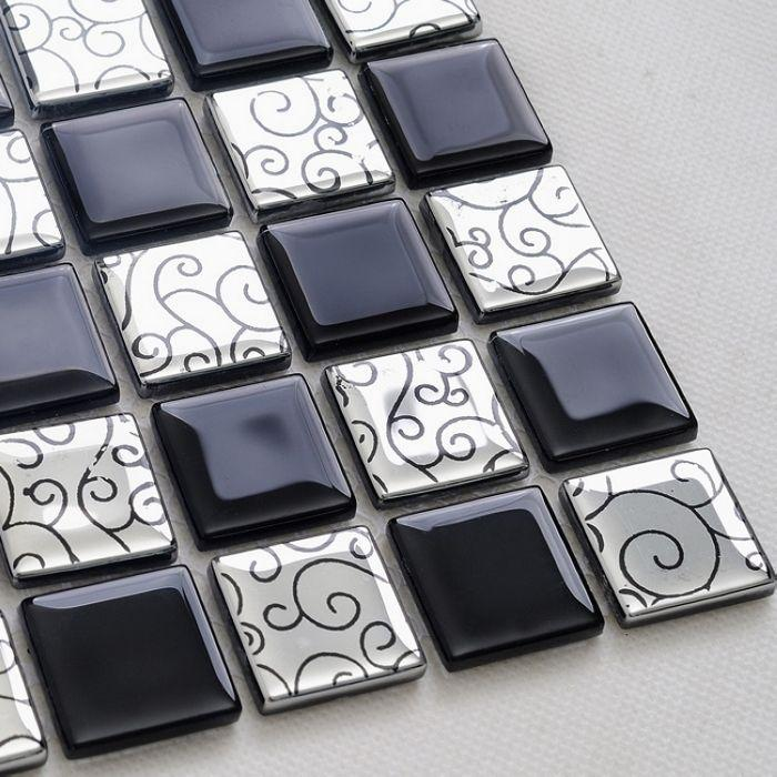 Wholesale black mixed silver color crystal glass mosaic tiles for ...