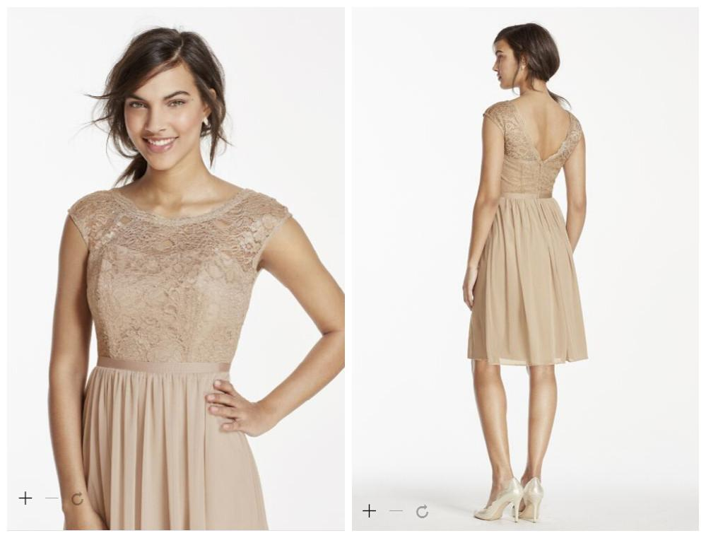 Lace cap sleeve champagne bridesmaid dresses 2015 a line for Short champagne wedding dress