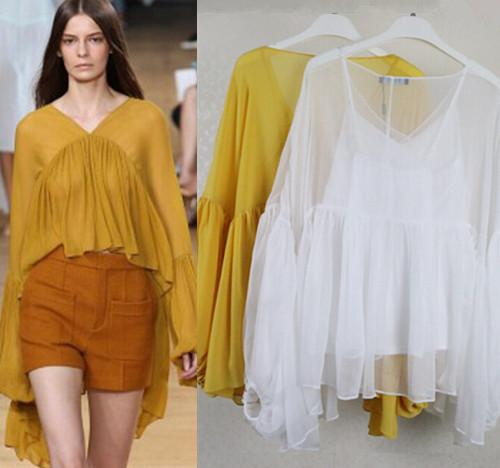 Summer Women Ruffled Lantern Sleeve Shirt Elegant Sheer Silk ...