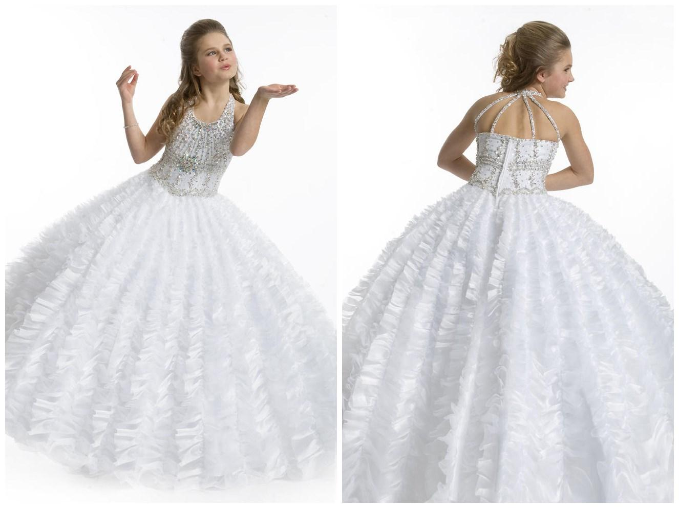 Big Ball Gown Tull White Halter Beads First munion