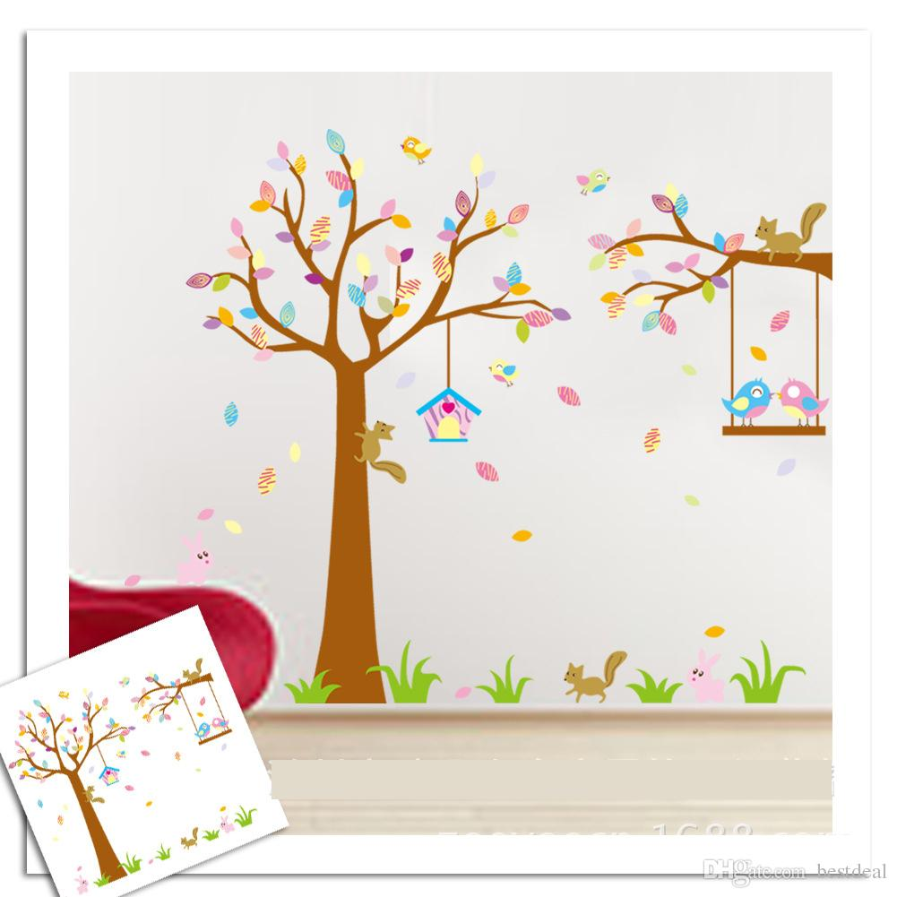 Tree Design Wallpaper Living Room Xl Size Wall Stickers 190 170cm Tree Animal Wallpaper Jm7226ab