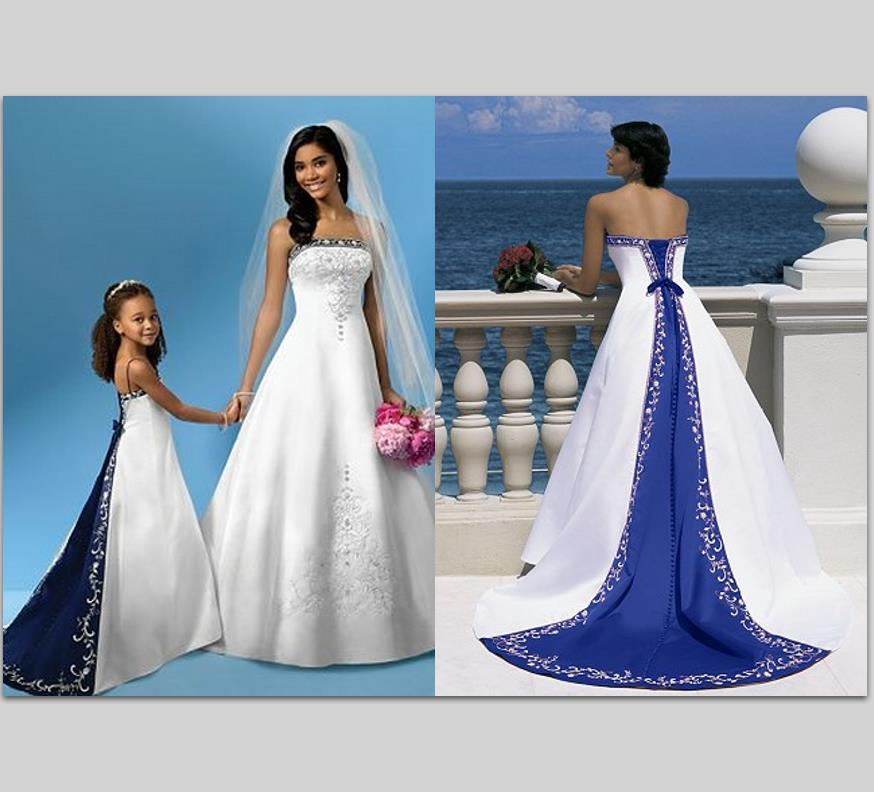 Hot sale embroidery royal blue and white wedding dress for Royal blue plus size wedding dresses