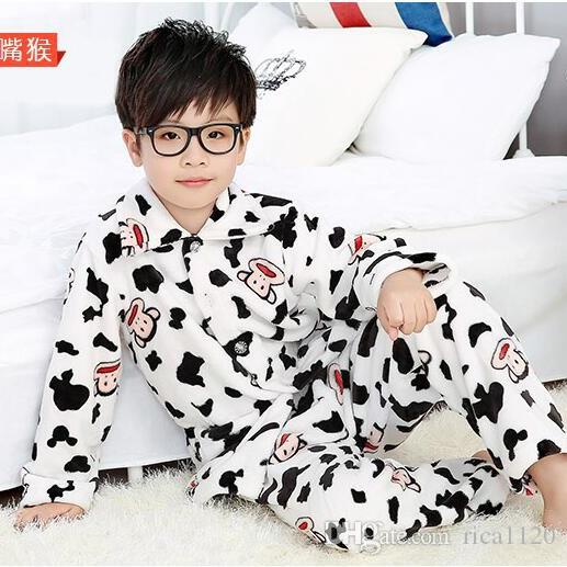 Kids Pajamas Children Winter Flannel Pajamas Boys Girls Sleepwear ...