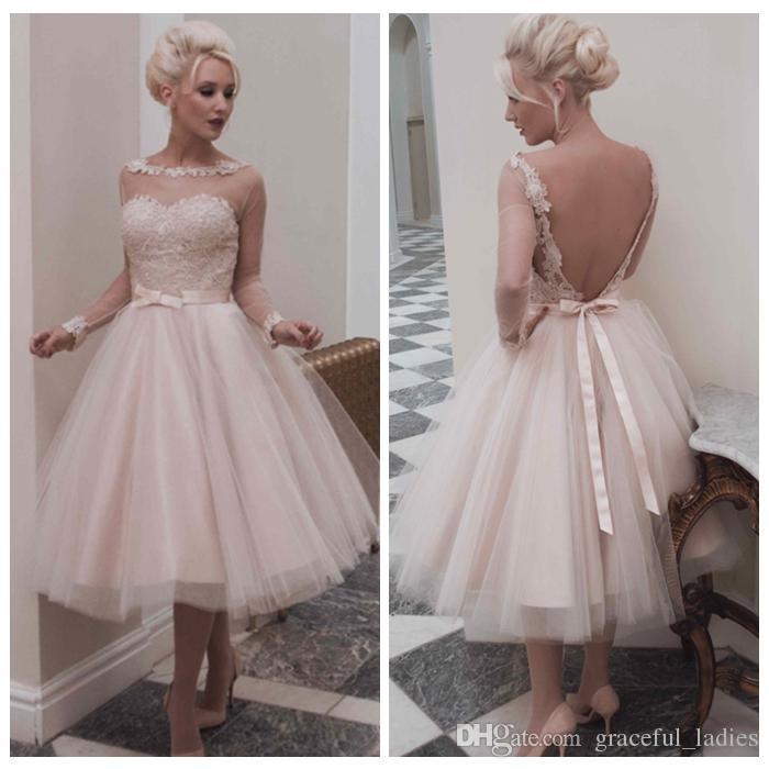 Vintage champagne short wedding dress long sleeves knee for 50 s style short wedding dresses